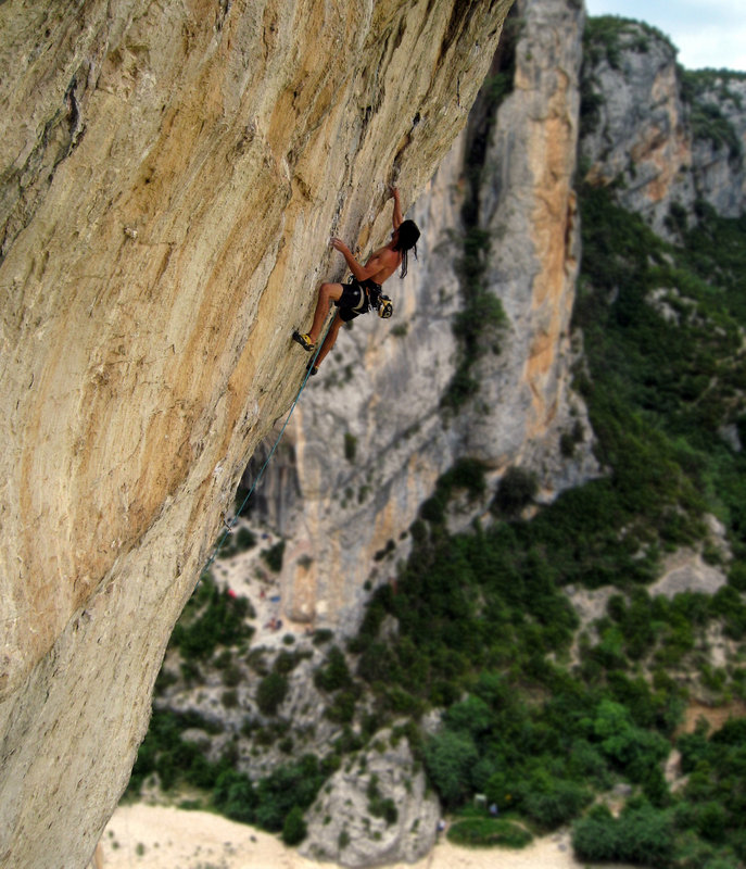 High above the gorge on the stunning Les Chacals (F8b) - Sector Barrio de los Gitanos, Rodellar, 152 kb