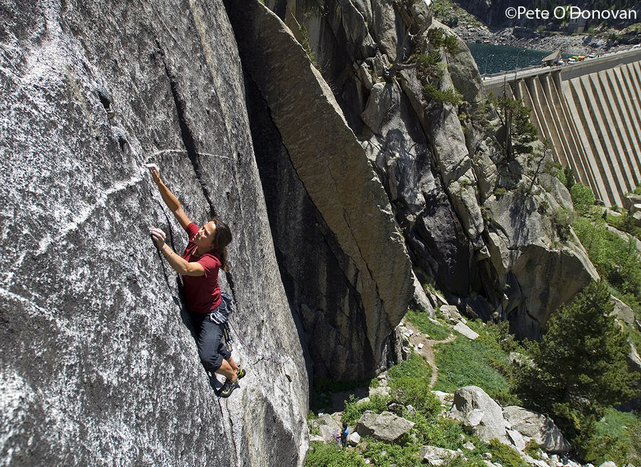 Lisi Roig tiptoes across the delicate rising traverse of 'Black Mamba' (7b)., 237 kb