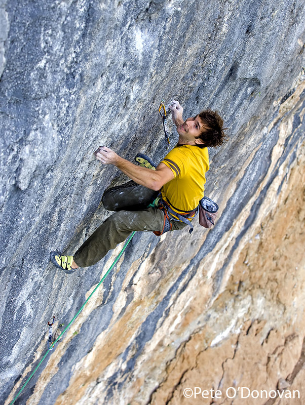 Chris Sharma, seen here in action on his route, �Pachamama� (9a+/b) at Oliana, 195 kb