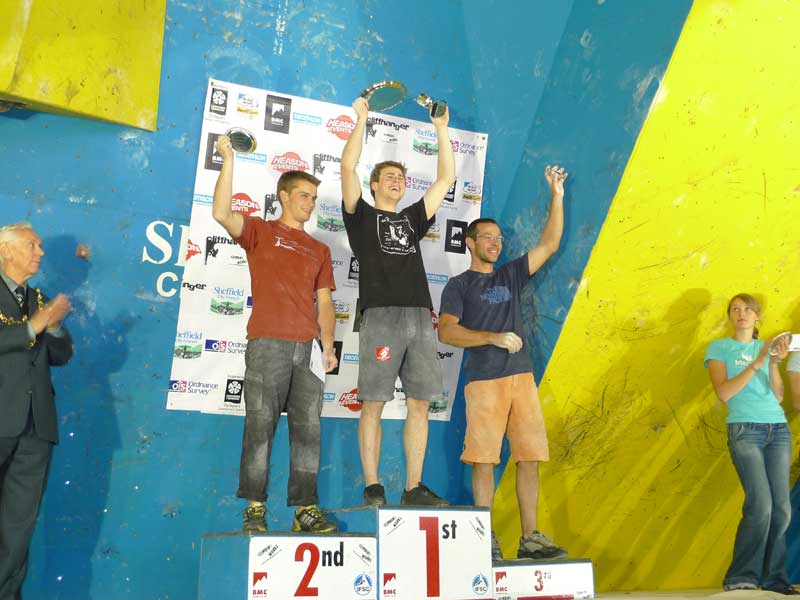 Dave Barrans, Ned Feehally and Gaz Parry on the podium at the BMC Bouldering Championships. © Mick Ryan, 52 kb