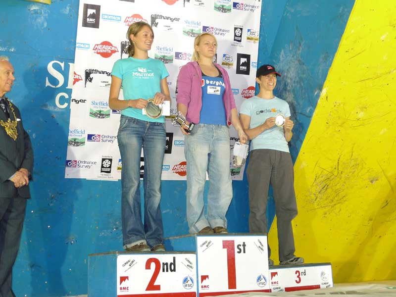 Katy Whittaker, Leah Crane and Diane Merrick on the podium at the BMC Bouldering Championships. © Mick Ryan, 55 kb