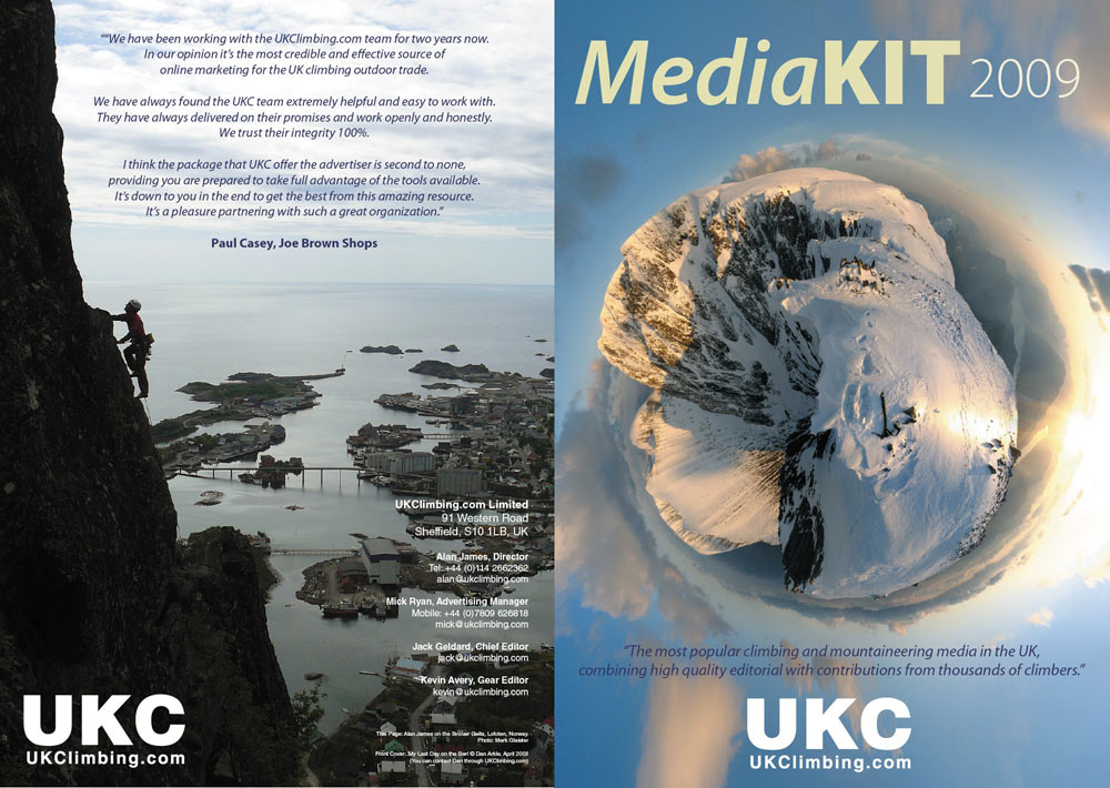 The UKClimbing.com Media Kit 2009 cover spread, 150 kb