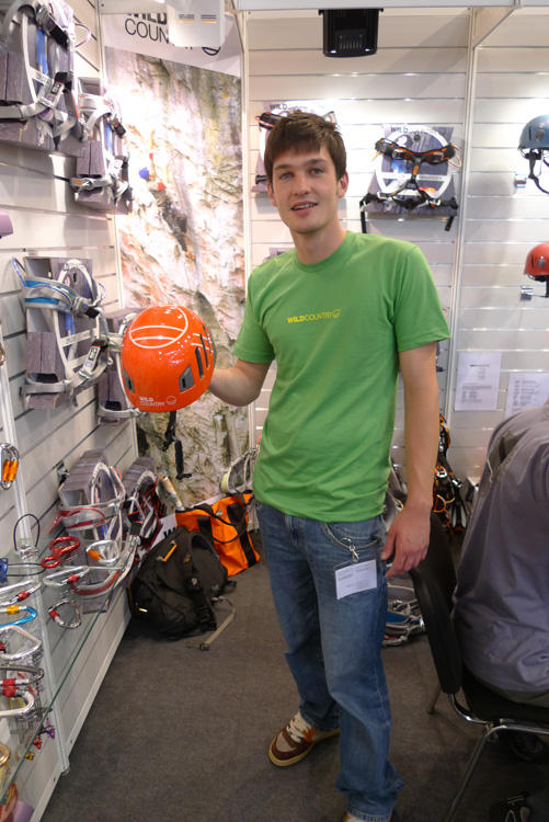 Tom Cain models the WC Alpine Sheild helmet - now available without the sheild., 178 kb