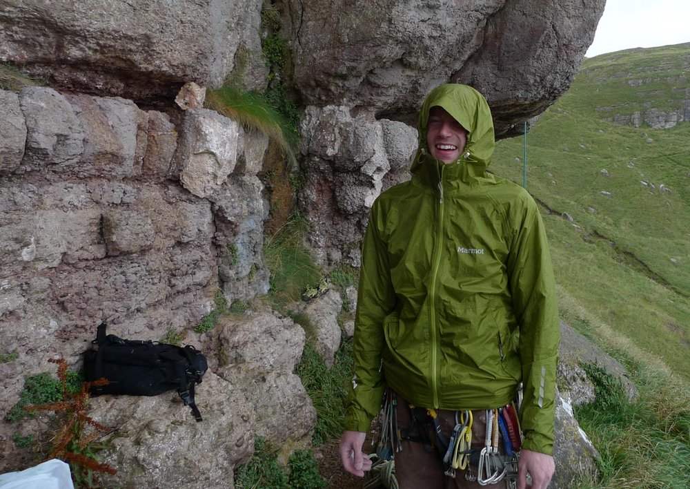 Jack Geldard climbing through the summer rain on the Great Orme, 188 kb