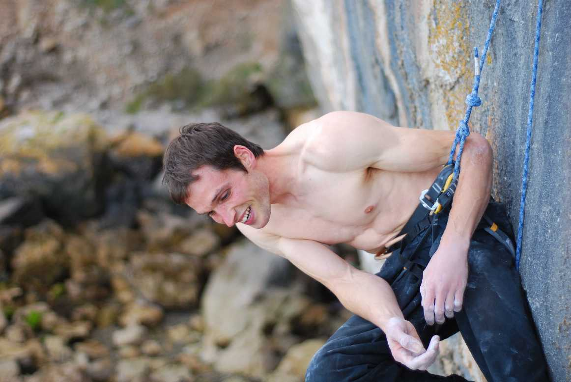 Pete Robins at the belay of Liquid Ambar, F8c after his successful redpoint ascent., 92 kb