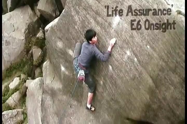 Toru Nakajima - new E9 on Gritstone, 52 kb