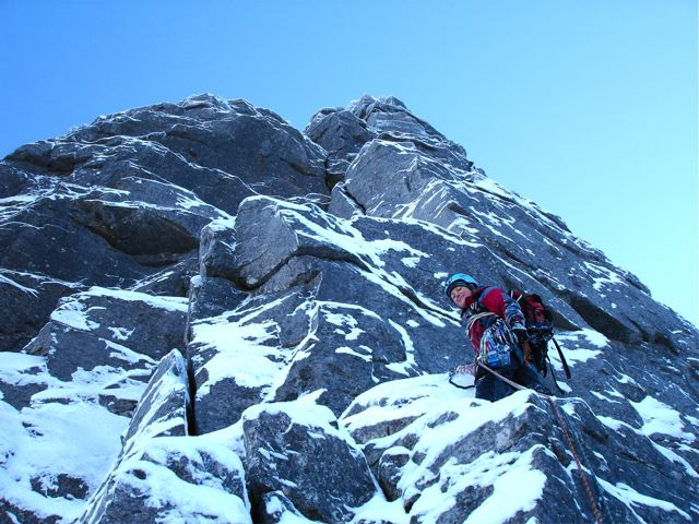 The author making the most of early season conditions on Beinn Eighe @ 8 weeks, 75 kb