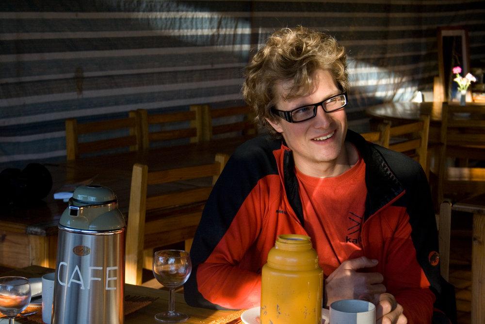 Dave Pickford - Climber, adventurer, photographer, journalist and poet, breakfasting in Madagascar., 129 kb