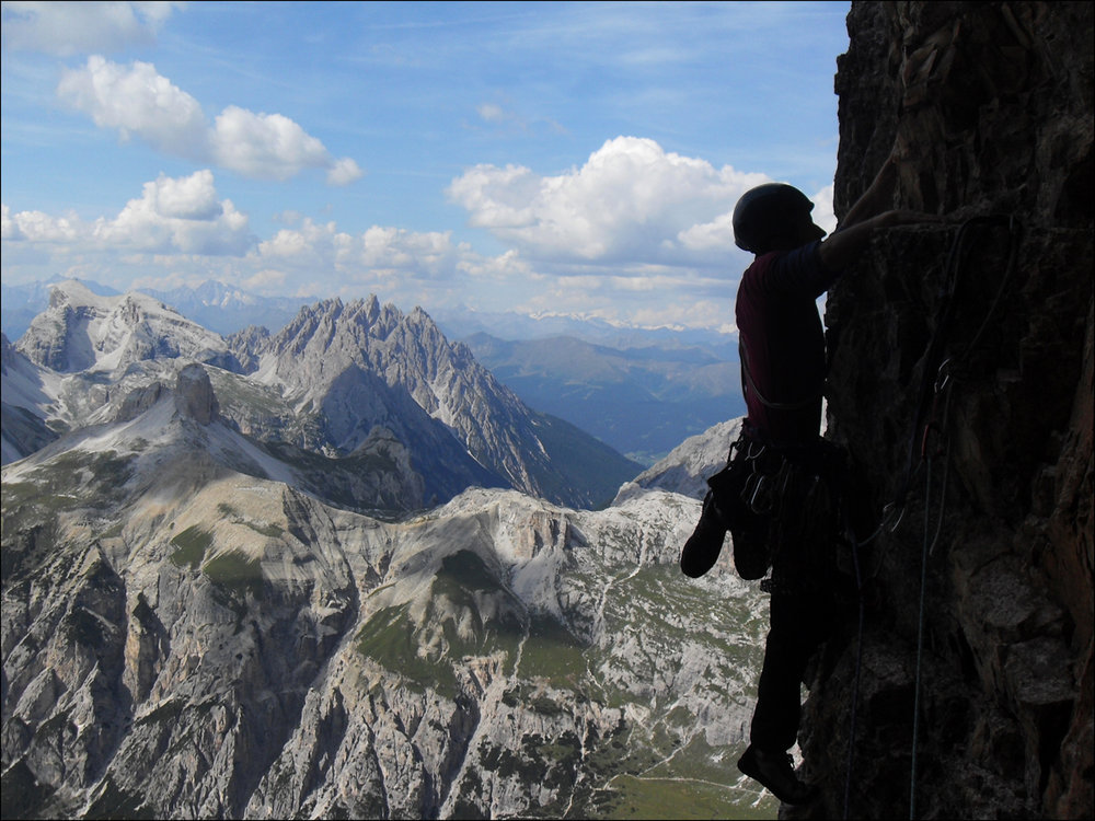 High up on easier ground on the Comici Route, Tre Cime, 168 kb