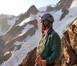 Simon Richardson enjoying a sunset on the Southwest Spur of Punta Baretti, 31 kb