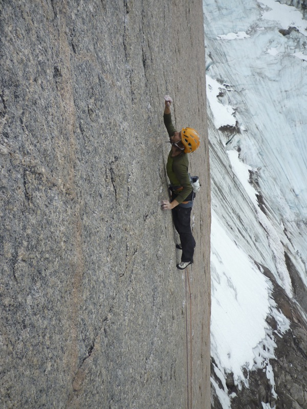 Nico going for it on the heady slab of pitch 1. The granite is incredibly featured allowing us to face climb a lot ., 192 kb