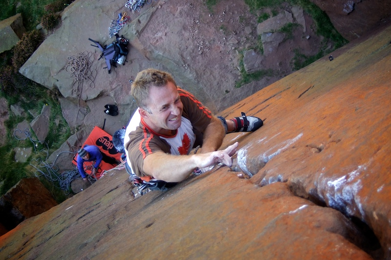 """""""Don't Stop Now!"""" Dave Turnbull reaches the final crux on London Wall, 189 kb"""