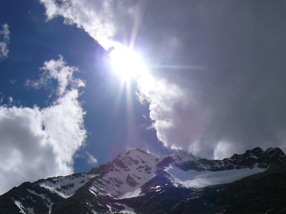 Looking up from base camp at 5000m to Sahib Chasa, 93 kb