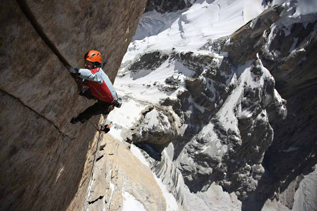 "Alexander climbing ""Say my Name"" (5.12a). This pitch was the hardest pitch free climbed during the first ascent., 93 kb"