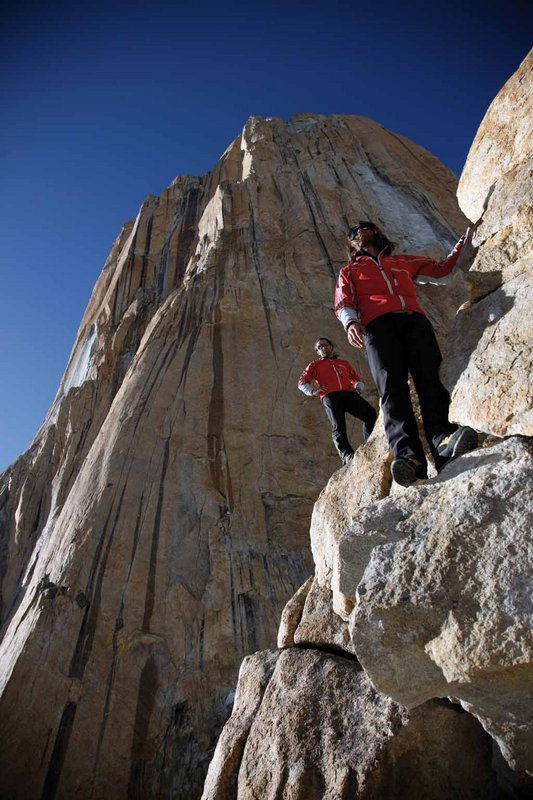 Above our heads the impressive South Buttress of Nameless Tower. Eternal Flame runs up the line of shadow and light, 97 kb