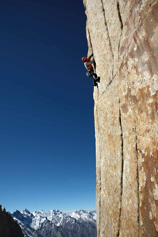 Alexander jamming the hand crack of 	the last difficult pitch of �Eternal Flame� (5.11d)., 80 kb