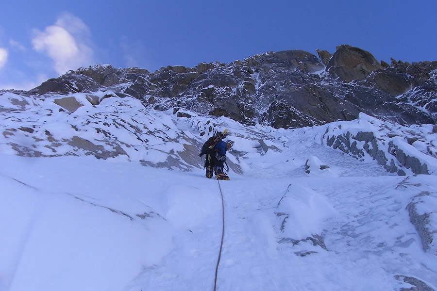 The Marmot Troll Wall Jacket on the Nant Blanc face, having just romped up the lower ice fields, © Will Sim, 132 kb