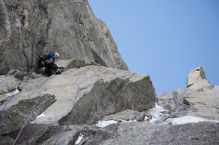 The Marmot Troll Wall Jacket about to engage in some serious thrutching on a very dry Pinnochio, Mont Blanc Tacul. © Tim E, 157 kb