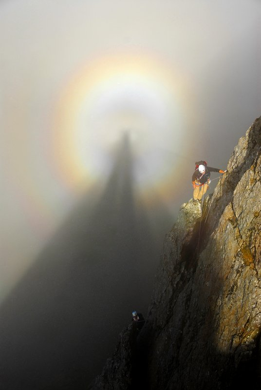 Terry Gifford, Mark Vallance and a Brocken Spectre on Reade's Route (220ft V Diff, 3-star classic), Crib Goch Buttress., 41 kb