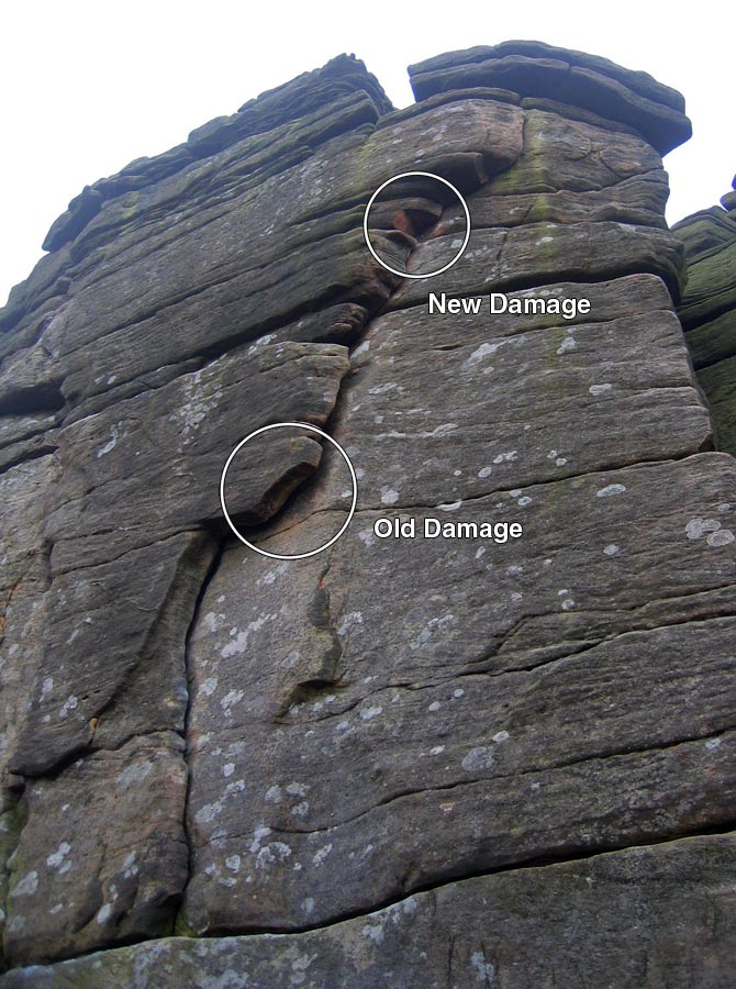 Damage to Right Unconquerable at Stanage, Peak District, 150 kb