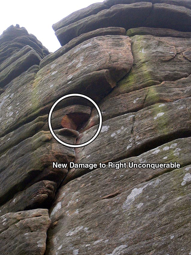 Close up of damage to Right Unconquerable at Stanage, Peak District, 168 kb