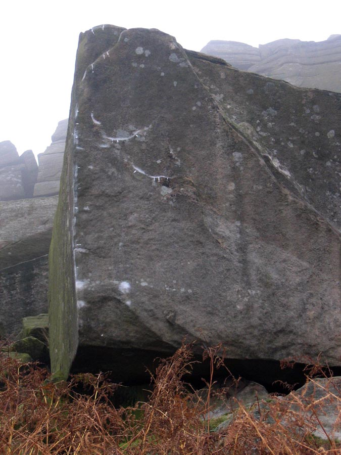Brushing and tick marks on Careless Torque, Stanage, 121 kb
