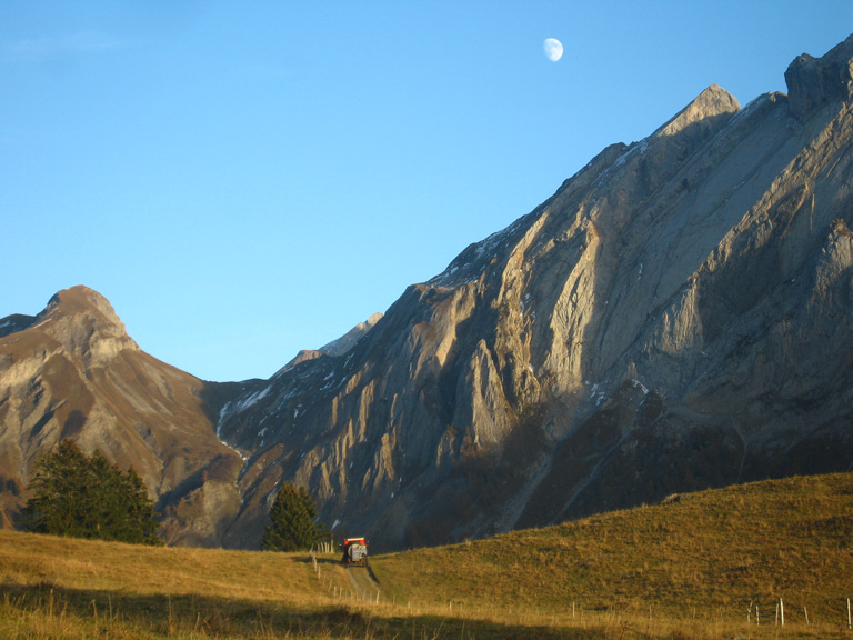 Moonrise over the Miroir d'Argentine, the day after I climbed the 'Y' Route with Graeme Ettle., 161 kb