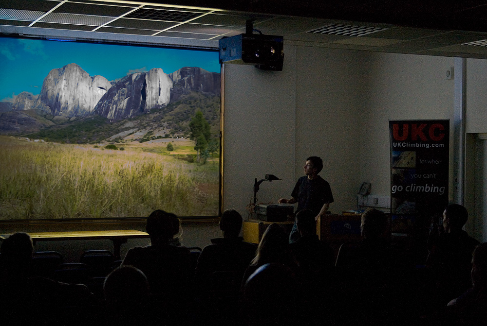 James McHaffie lecturing on his big wall climbing at the PyB Expedition Symposium 2009, 236 kb