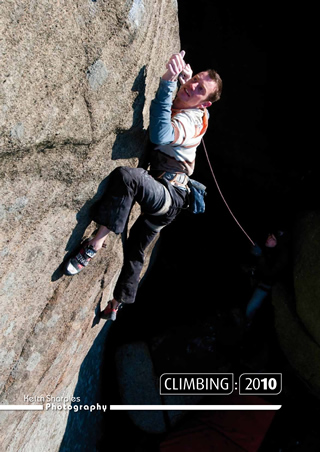 Jack Geldard, cover star, on Keith Sharples' 2010 Calendar. The route is the Promise at Burbage., 74 kb
