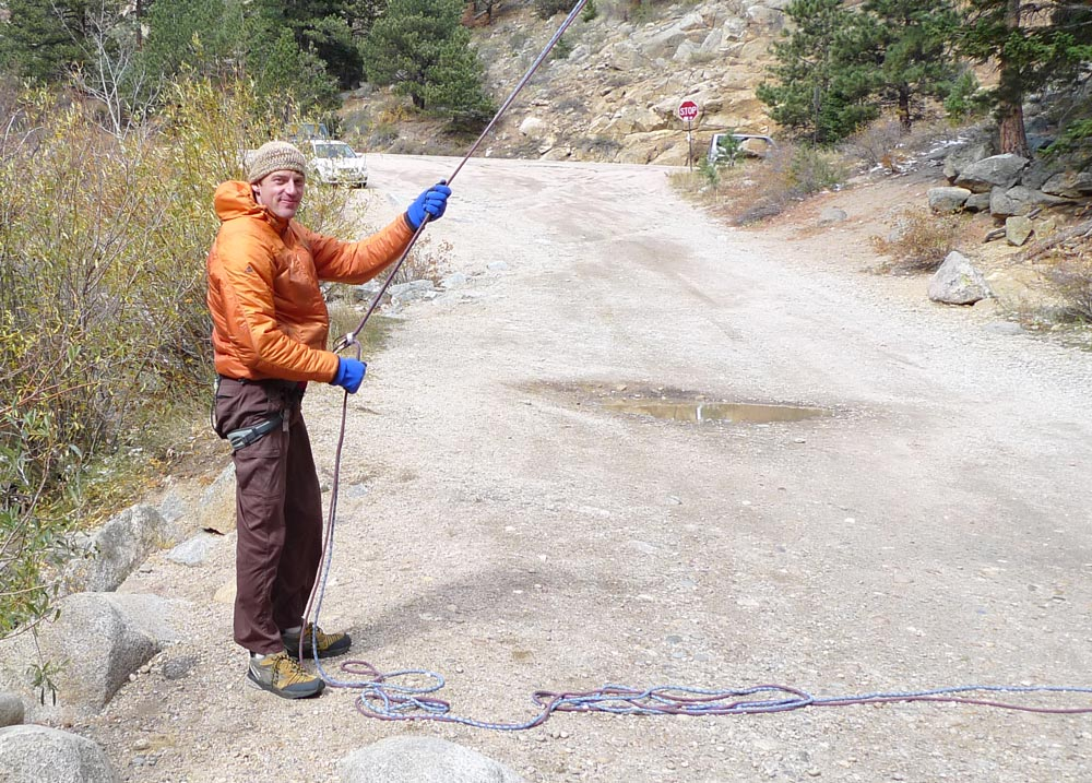 Belaying in sub zero temperatures in Boulder Canyon, Colorado (note snow on ground!), 211 kb