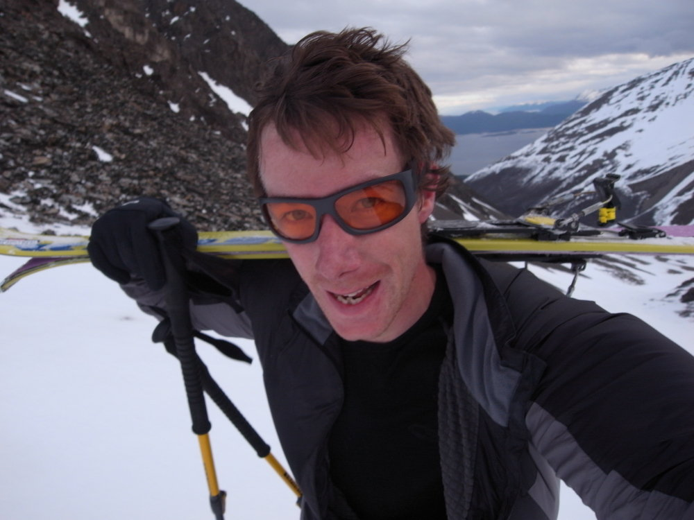 Es Tresidder using the new Adidas Terrex Pro sunglasses on the Patagonia Ice Cap, 95 kb