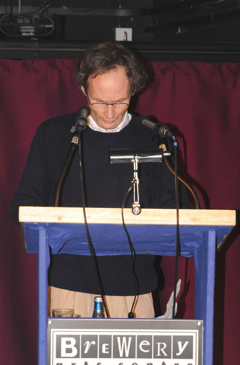 Phil Bartlett announcing the winner  of the Boardman-Tasker Mountain Literature Award at the Kendal Mountain Festival 2009, 55 kb