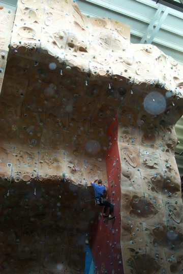 Climber on the big overhang of the Welsh Indoor Climbing Centre, 43 kb