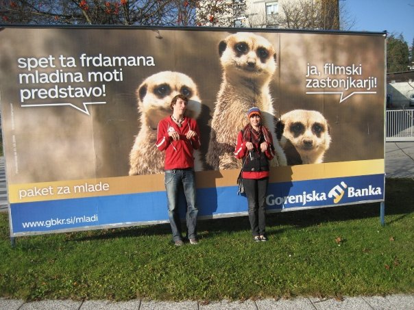 Simples! Natalie and Robert pretending to be meerkats on their way around town!, 77 kb