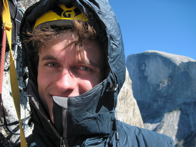 Rob Greenwood wearing the RAB Generator Alpine on the Shield, El Capitan., 100 kb