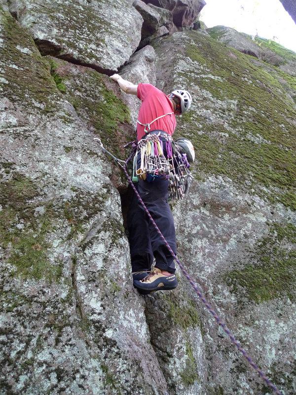 Toby Archer climbing Piton Route, VS 4c, Kakarsberget, Finland. © Jody Wren, 210 kb