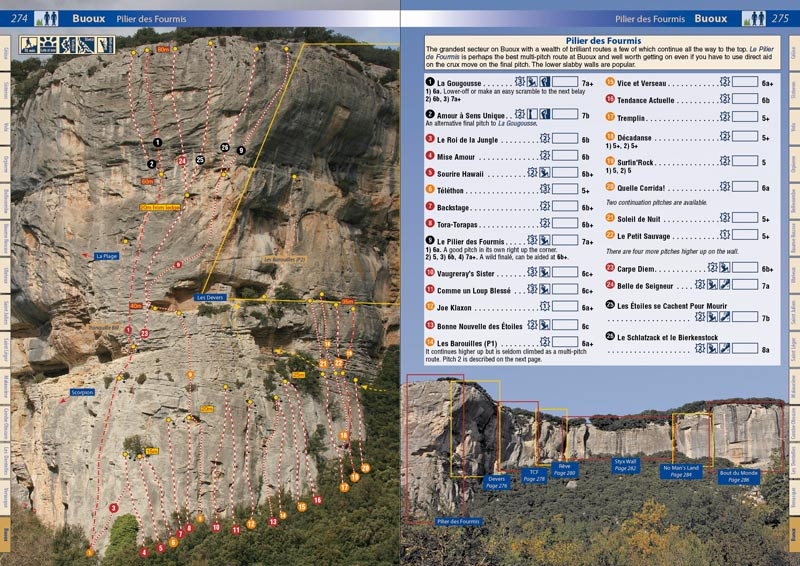 An example page from the new Rockfax guidebook - France : Haute Provence, 133 kb