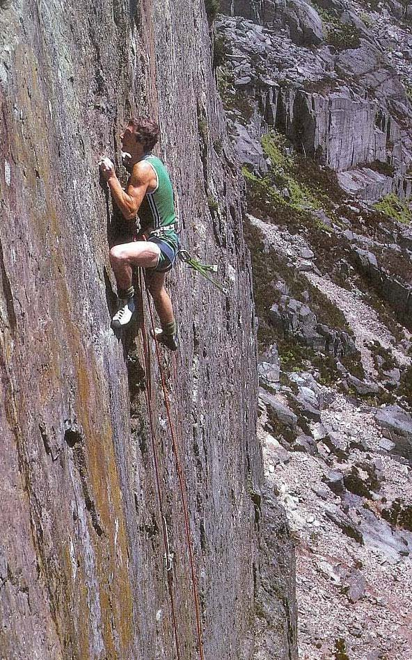 Ron Fawcett on the first ascent of Lord of the Flies, 209 kb