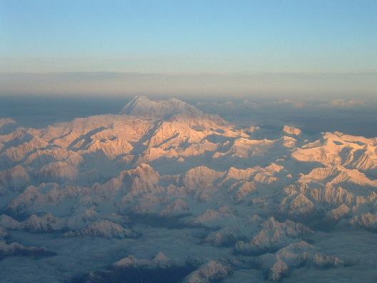 Sunrise over Denali, Alaska Flying to work on the North Slope., 81 kb