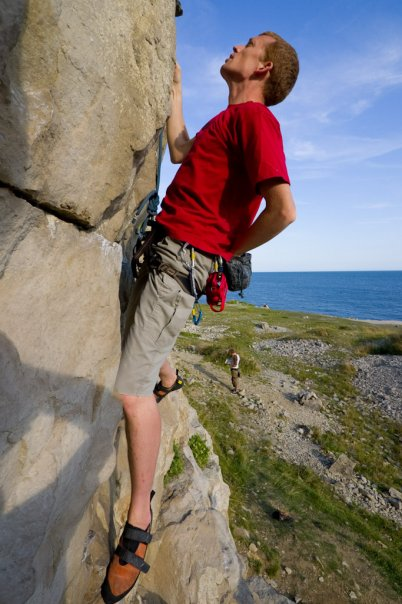 Fred climbing at Dancing Ledge near Swanage, Dorset, 56 kb
