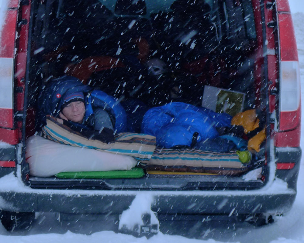 Kevin Avery snug and warm in his Pinnacle bag, sleeping in the van in the Cairngorm. Temps were -5 to -15 C, 166 kb