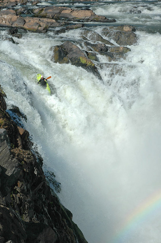 Quite possibly the first and only female descent of 'Mr Clean' falls at the Thousand Islands section of the Mekong, Lao PDR., 101 kb