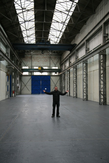 John Dunne inside future Reading Climbing Centre, 55 kb