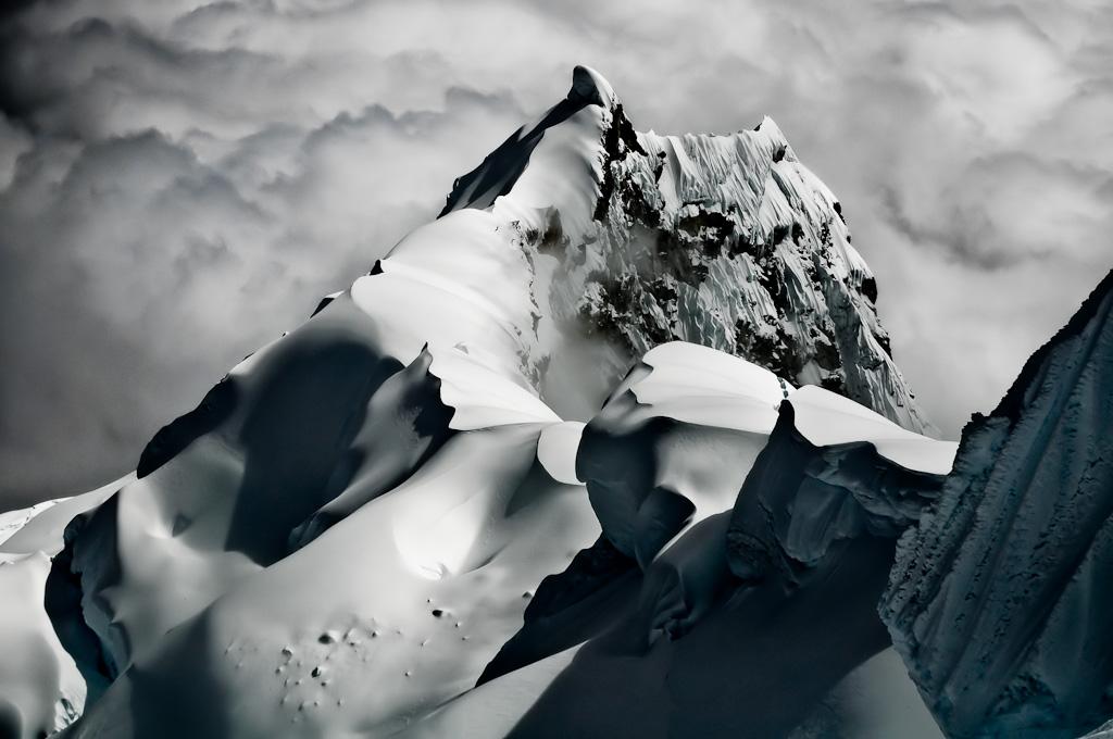 Northwest ridge of Nevado Chopicalqui seen from close to the summit, 6345m, Cordillera Blanca, Peru., 185 kb