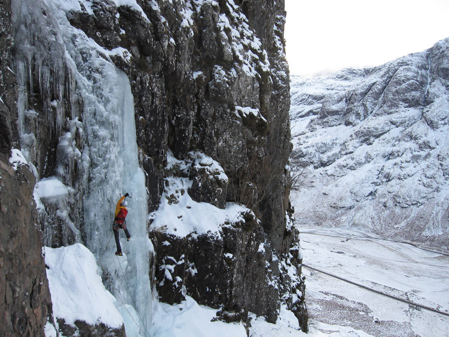 Viv enjoying classic Glencoe ice - Blue Riband - in the Work Gloves, 215 kb
