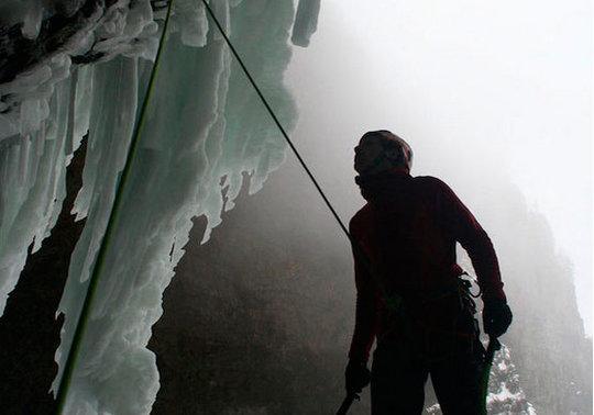 Spray On, 30M, WI10, Helmcken Falls, BC. FA Will Gadd, Tim Emmett, January 29, 2010, 34 kb
