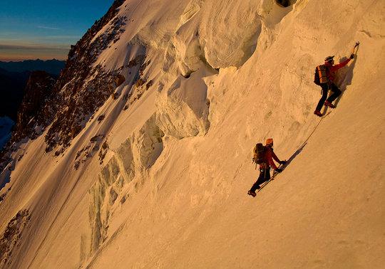 Just below the final summit seracs on the Gervasutti Couloir, 59 kb
