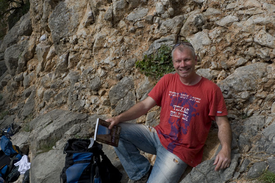Mark Glaister researching the forthcoming Rockfax guide to Mallorca, 192 kb