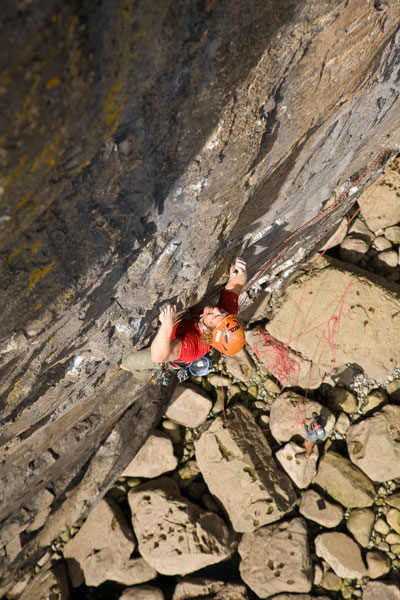 Tim Emmett making the second ascent of Point Blank (E8) at Pembroke, 80 kb