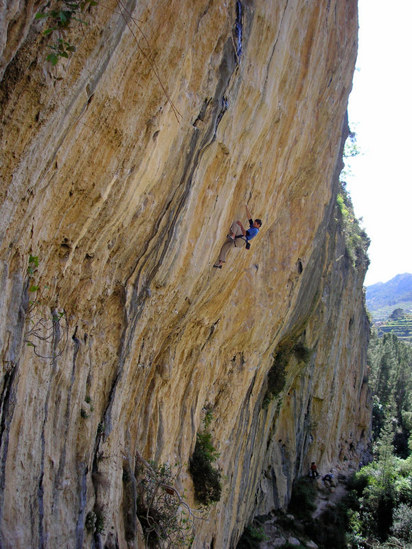 Neil Mawson on Dosis F8b+ at the Wild Side in Sella, Spain. A route which he climbed last April., 165 kb
